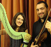Flora Papadopoulos (arpa) e Andrea Vassalle (violino), Milano Civica Scuola di Musica