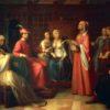 Dante Alighieri (1265-1321) reading Divine Comedy in Guido Novello's court, 1850, by Andrea Pierini (1798-1858), oil on canvas, Italy, 19th century